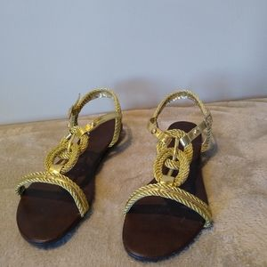 ALIA Gold Braided Rope Sandals Size 10